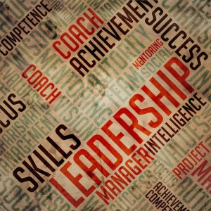 Leadership Concept. Grunge Wordcloud on Old Fulvous Paper.
